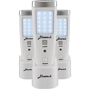 3 Pack- Bluetech LED Flashlight Night Light for Emergency Preparedness, Portable Unit with Motion Detection,Power Failure Light, ETL Approved Blackout Light