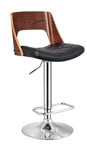 AC Pacific Vintage Hydraulic Lift Adjustable Swivel Barstool, 24 -32 , Walnut