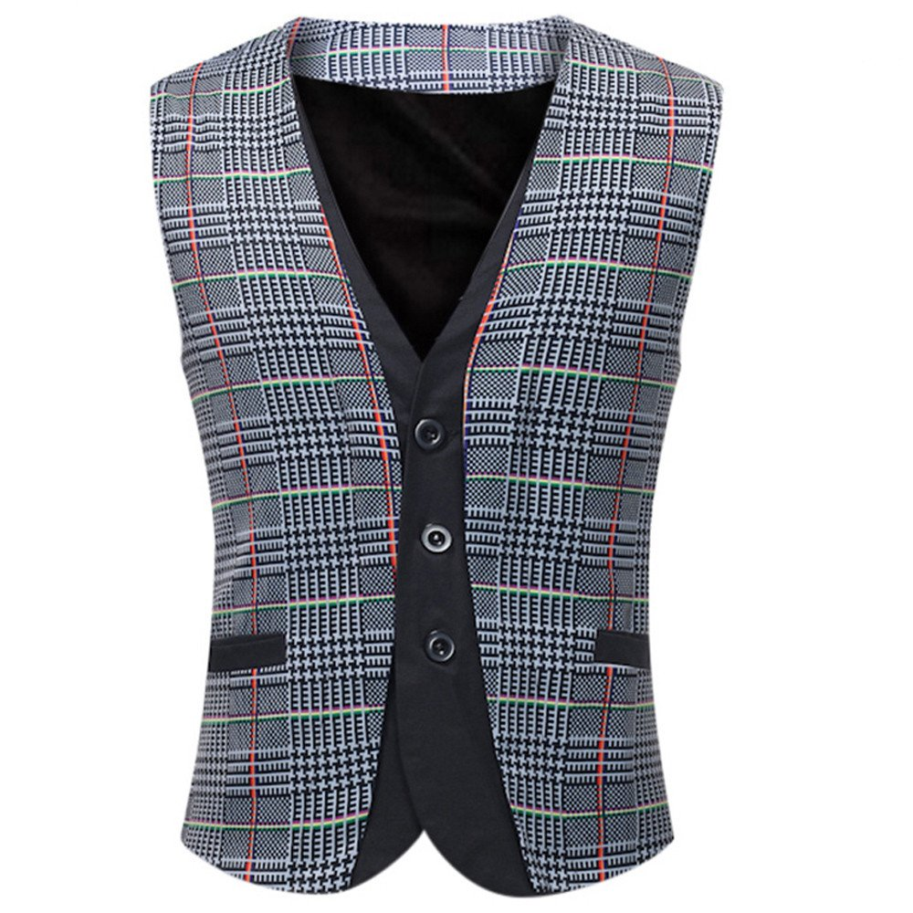 Men Coats Hot WEUIE Men Casual Printed Sleeveless Jacket Coat British Suit Vest Blouse (5XL, Gray) by WEUIE (Image #1)