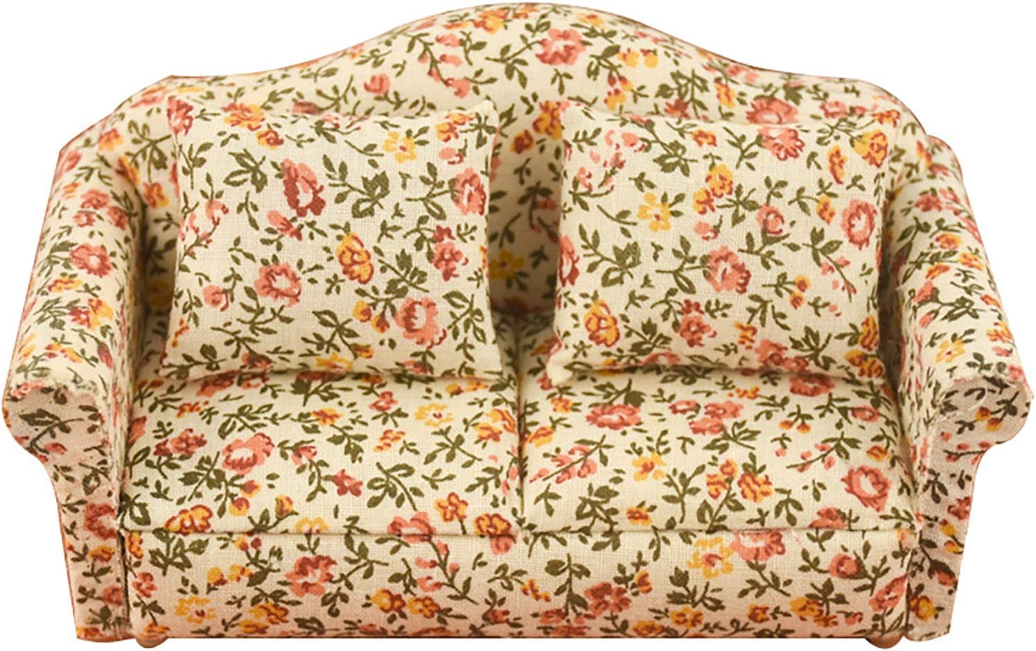 Gaweb Ornaments, Wooden Scale 1:12 Country Style Floral Pattern Dollhouse Sofa Model for Decor A One Size