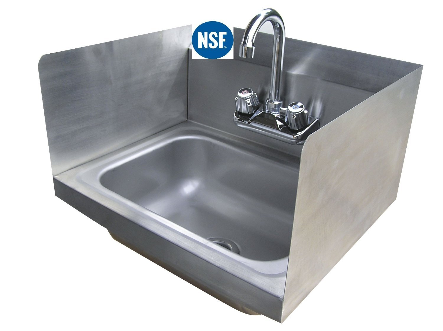 Stainless Steel Hand Sink with Side Splash - NSF - Commercial Equipment 12'' X 12''