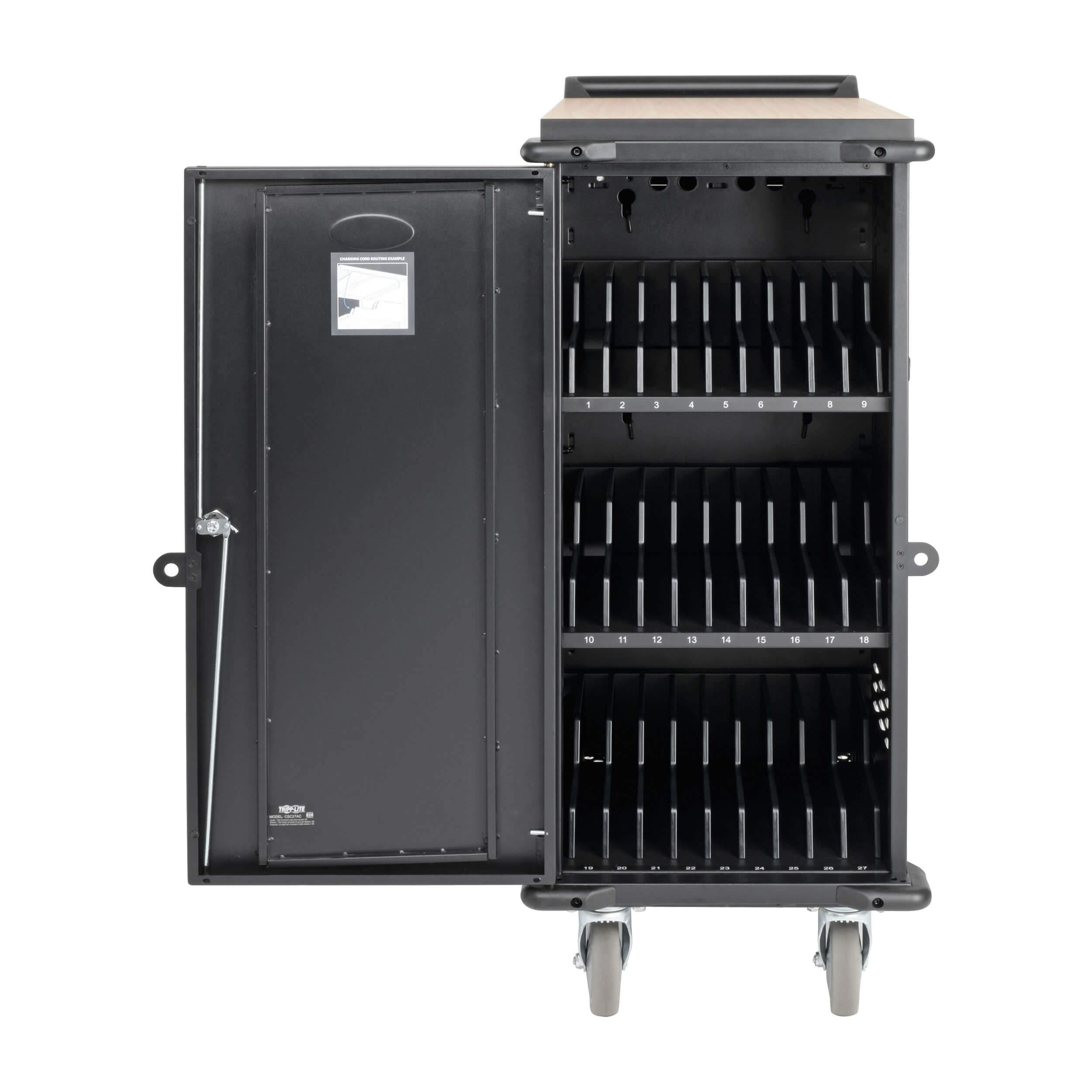 Tripp Lite 27-Port AC Mobile Charging Cart Storage Station for Chromebooks, iPads, Laptops, Tablets, Black (CSC27AC) by Tripp Lite (Image #2)