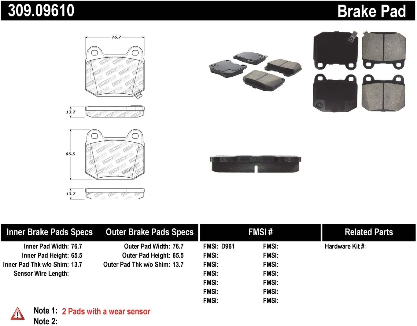 StopTech 309.09610 StopTech Sport Brake Pads