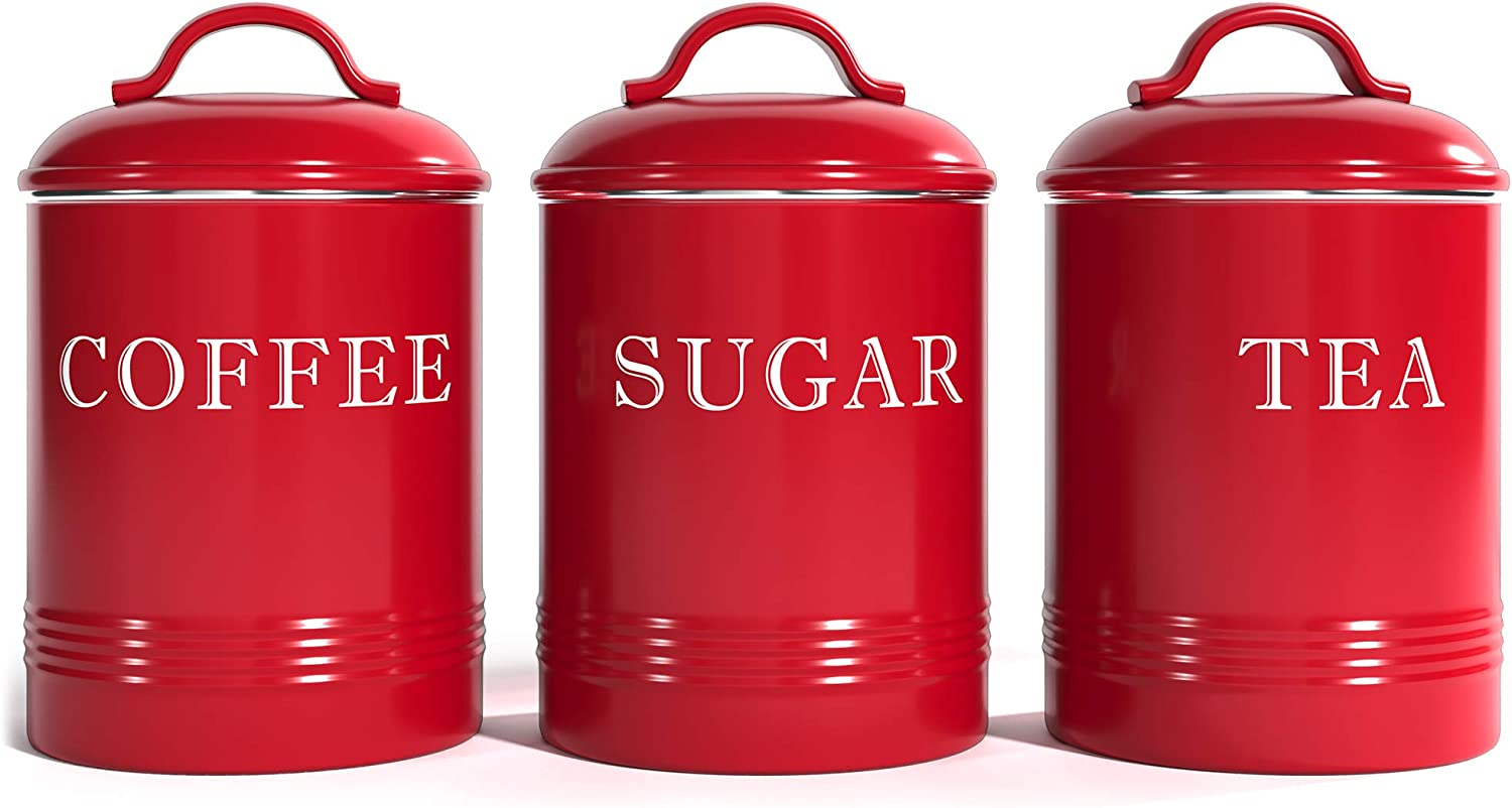 """Barnyard Designs Airtight Kitchen Canister Decorations with Lids, True Red Metal Rustic Farmhouse Country Decor Containers for Sugar Coffee Tea Storage (Set of 3) (4"""" x 6.75"""")"""