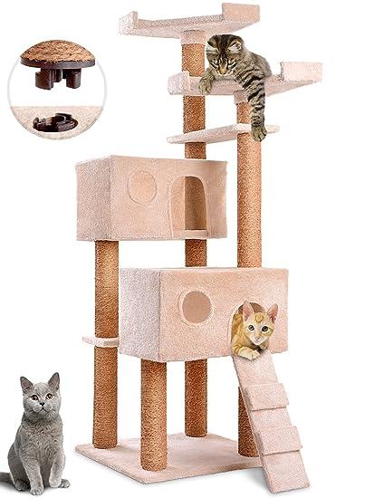 Leopet – Árbol rascador para gatos de altura 150 cm – 2 cuevas grandes, 2