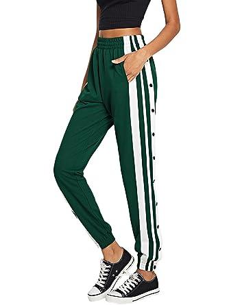 1f0b142155c2 SOLY HUX Damen Hosen Sweatshose Streifen Sweatpants Elastisch Bund  Jogginghose mit Taschen, Knöpfe Grün L  Amazon.de  Bekleidung