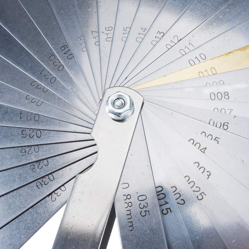 MUYI 32 Blades Feeler Gauge Dual Marked Metric and Imperial Gap Measuring Tool Teaching Feeler