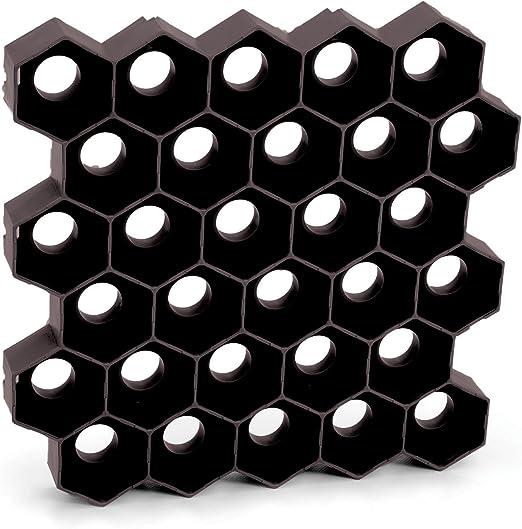 Rejilla teselado solería jardín aparcamiento para coches negro plástico 10 pieces 1 m Carre jardín: Amazon.es: Jardín