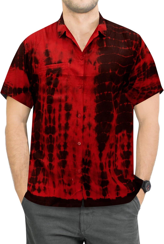LA LEELA Mens Tropical Hawaiian Shirt Casual Button Down Office Work Shirt A