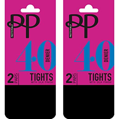 465f8e1d46e03 Pretty Polly 40 Denier Opaque Tights with Silk Finish (4 Pair Multi Pack):  Amazon.co.uk: Clothing