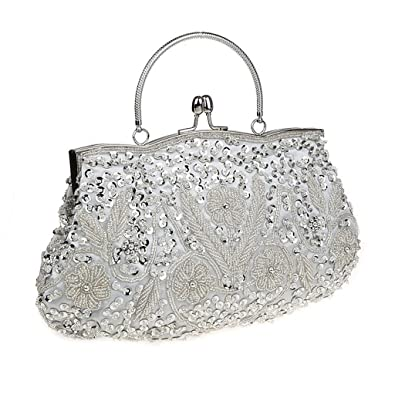 8aa0570e7a4 HONGCI Glitter Fashion Beaded Sequin Pearl Clutch Bag for Women - Vintage  Beaded Evening Bag,