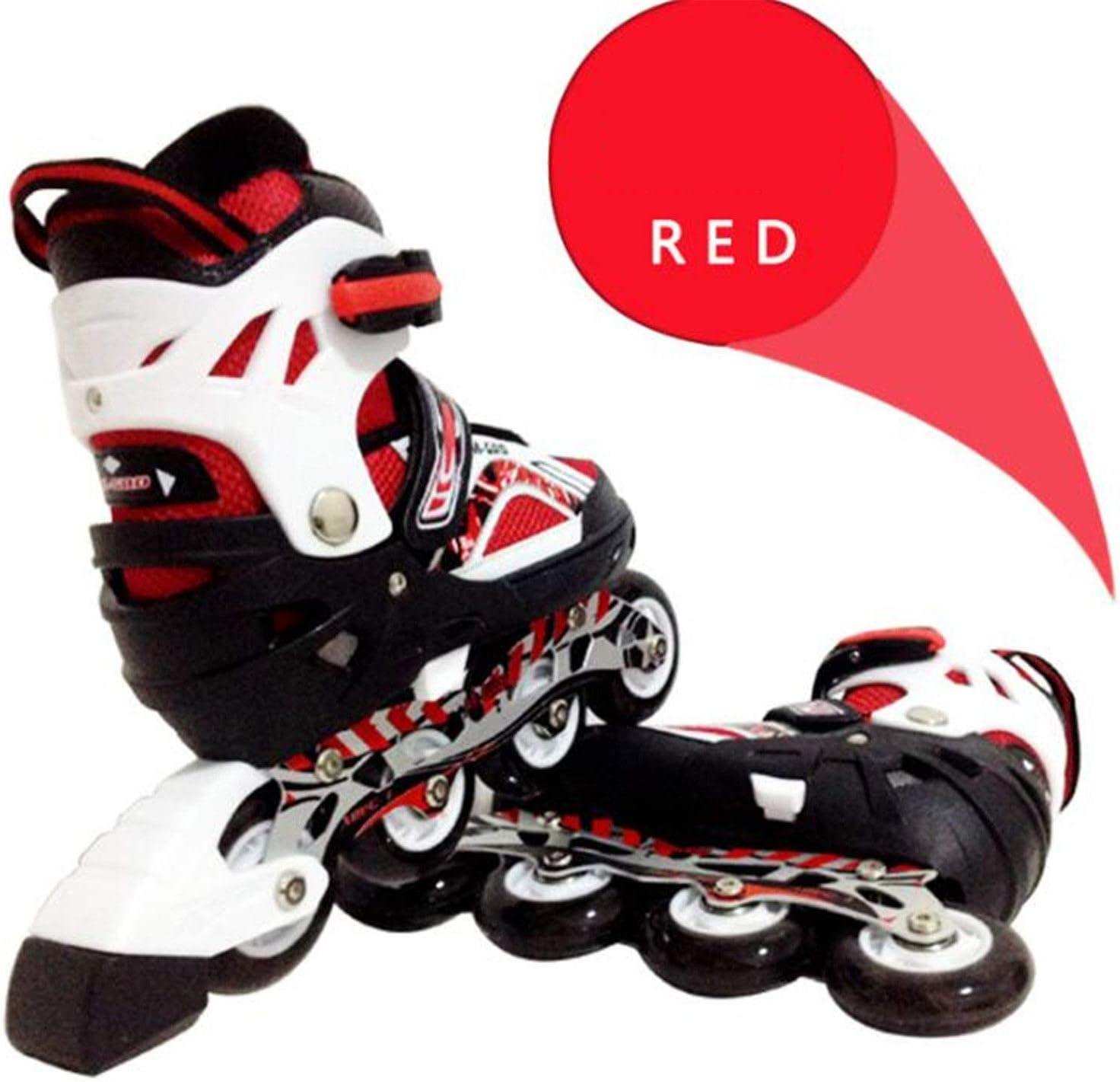 LNYF-OV 大人用 スケート 調節可能 ストレートローラースケート フラッシュホイール 大学生 ライディングトイ レッド Medium