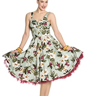 bcb8856f0d Hell Bunny 50s Mini Skater Dress Woodland Trees Sherwood Dark Green ...