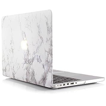 iDOO Funda dura de goma con acabado mate [Para MacBook Pro Retina 15 Pulgadas - sin unidad de CD: A1398] - Color mármol blanco
