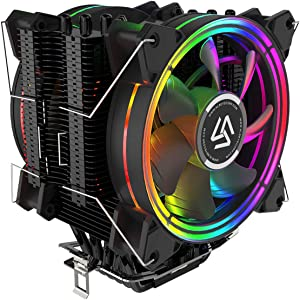 ALSEYE CPU Cooler PC Heatsink with 6 Heatpipes 4 Pin PWM 120mm LED Fan Computer CPU Air Cooling Cooler Radiator for Intel & AMD LED