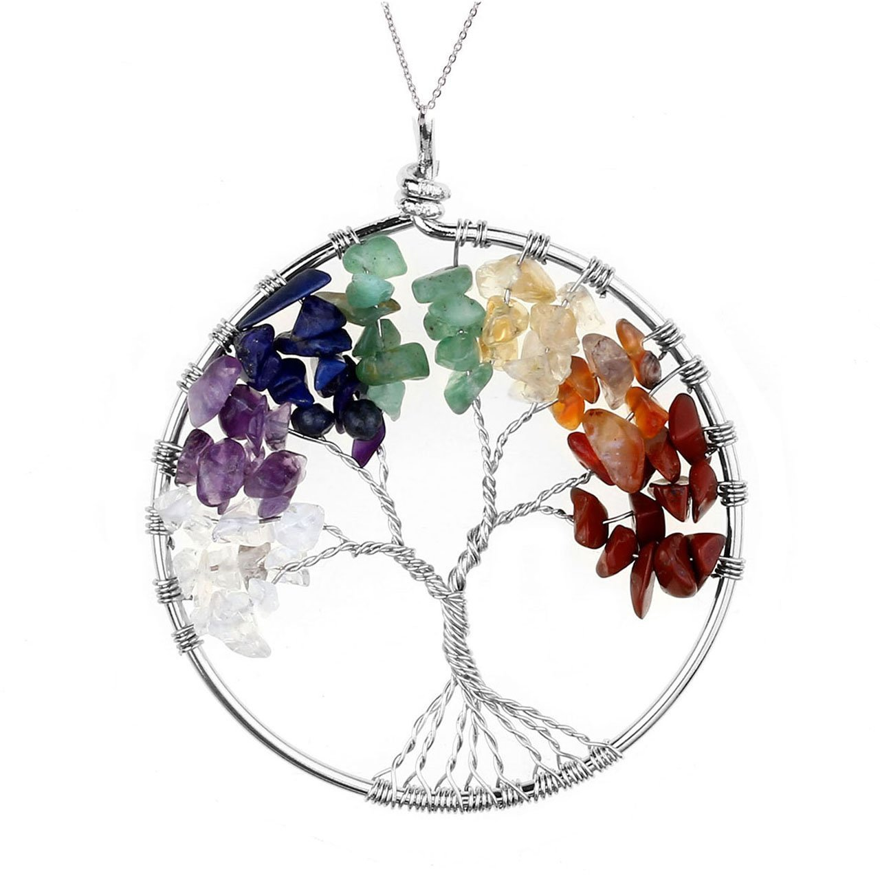 Jovivi 7 Chakra Gemstone Tree Of Life Natural Tumbled Gemstone Wire Wrapped Pendant Necklace,Mothers Day Gifts