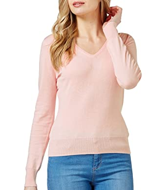 WoolOvers Womens Silk and Cotton Long Sleeve V Neck Sweater at ...