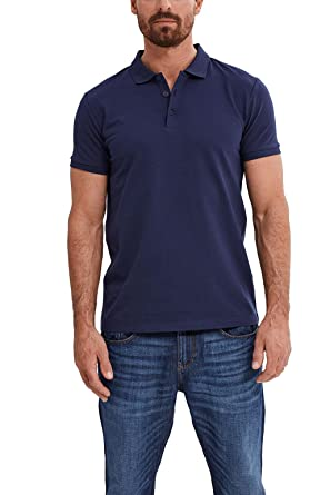 ESPRIT Collection Herren Poloshirt 047EO2K012, Blau (Navy 400), Small