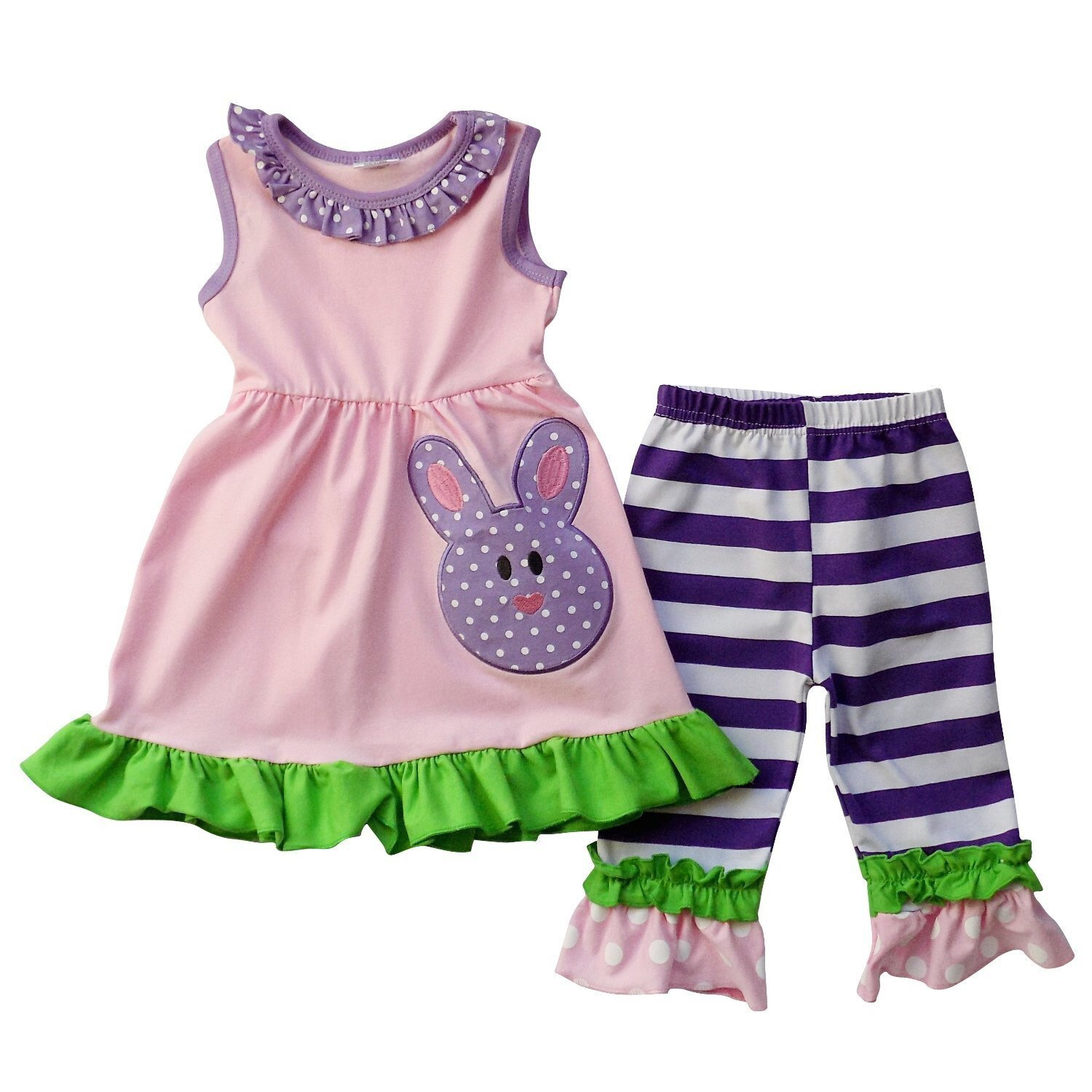 77bd635c1 Amazon.com: Girl's Easter Bunny Toddler Baby Outfit Clothing Set Children's  Boutique Clothing: Clothing
