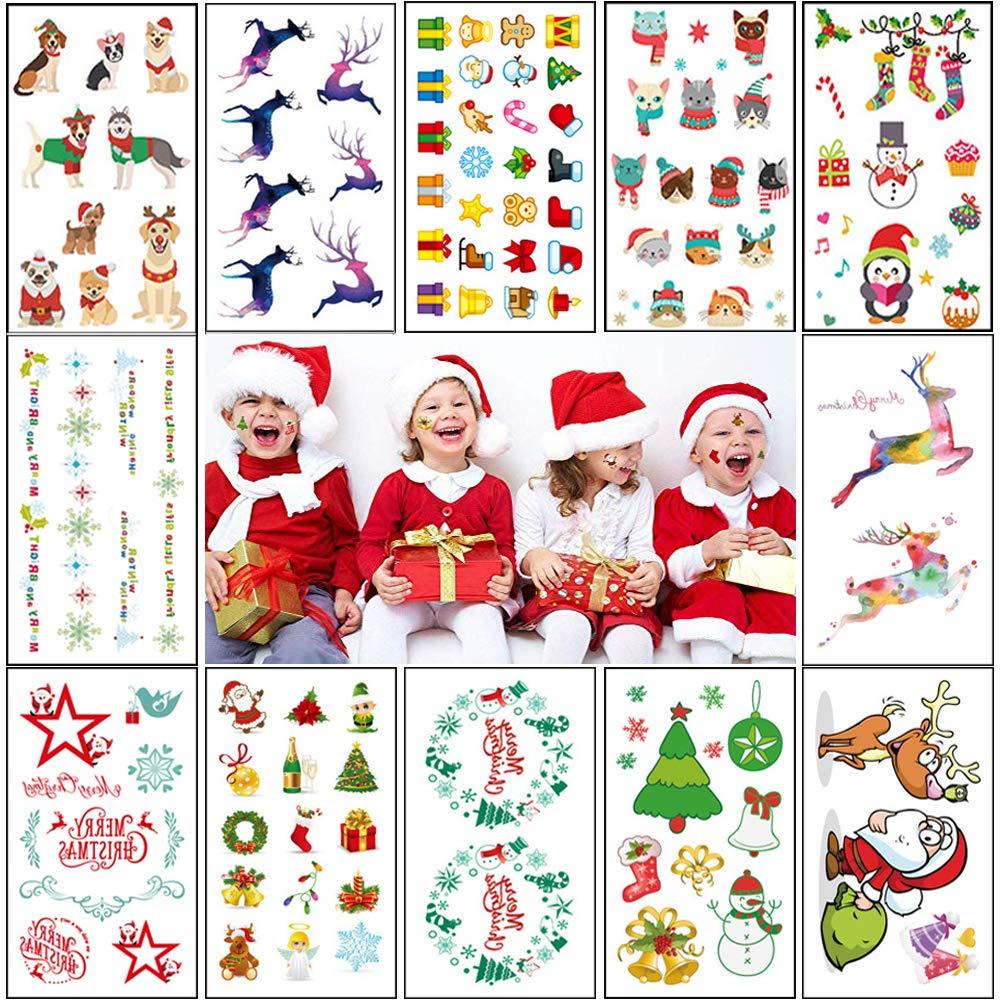 120e6f5b06c2c Amazon.com: Temporary Tattoos for Kids (12Sheet 120Deigns) Christmas  Stickers-Flash Tattoo Sticker, Girl's Best New Year Gift,Santa Claus, ...