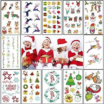 Amazon.com: Temporary Tattoos for Kids (12Sheet 120Deigns) Christmas ...