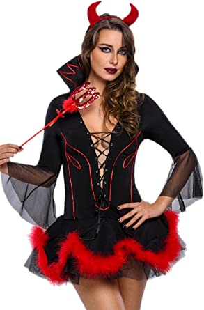 Duivel Kostuum Halloween.Amazon Com Jj Gogo Sexy Devil Costume Adult Halloween Black Bad Devil Cosplay Party Dress For Women Clothing