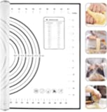 "Silicone Pastry Mat, Extra Large Non Slip with Measurement Non Stick, Large and Thick, for Fondant, Rolling Dough, Pie Crust, Pizza and Cookies - BPA Free Easy Clean Kneading Matts,16"" x 24"", Black (Black)"