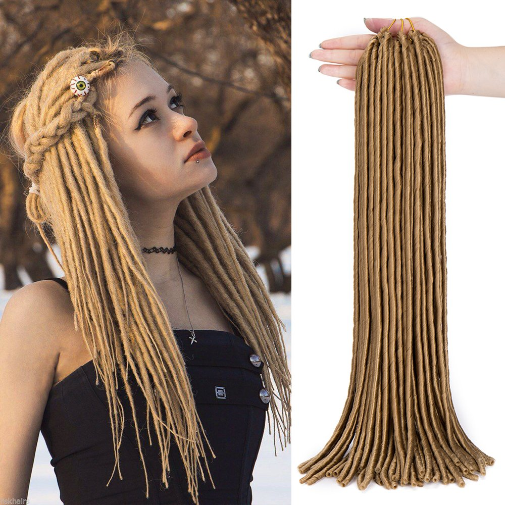 Amazon 24 Handmade Dreads Light Gold Braiding Hair