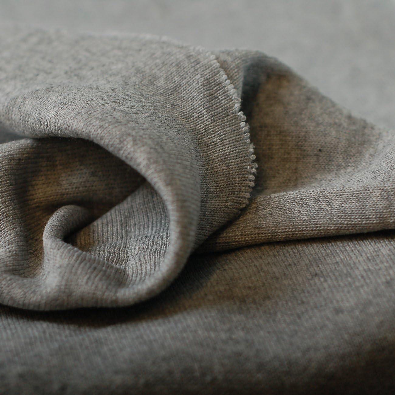 silver grey Rib Cuffing Cotton Jersey Stretch Half Metre