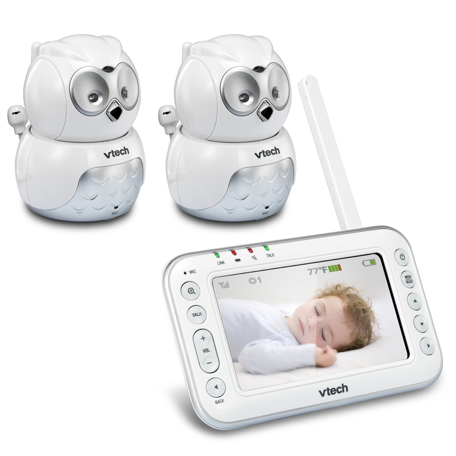 VTech VM344-2 Owl Video Baby Monitor with Automatic Infrared Night Vision, Pan/Tilt & Zoom, Temperature Sensor & 1,000 feet of Range with 2 Cameras