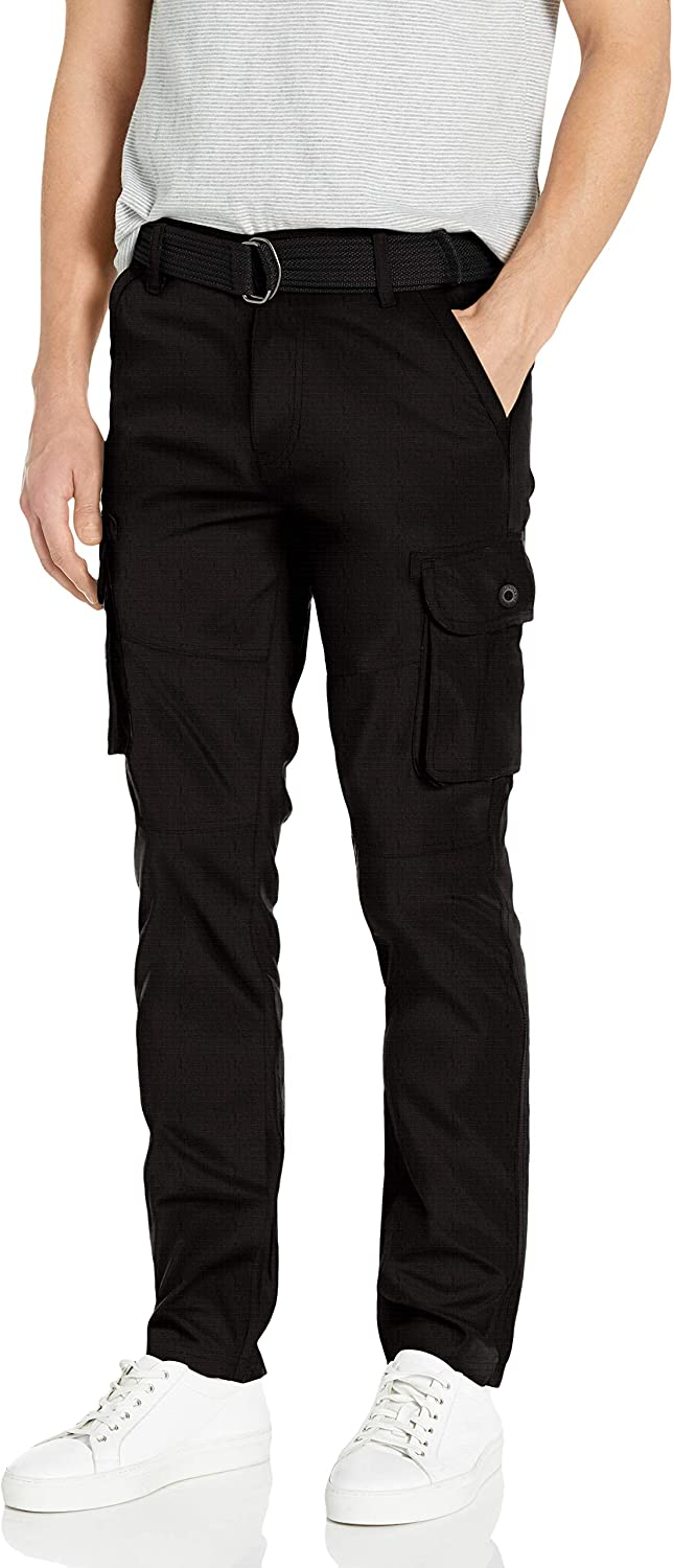 Southpole Men's Jogger Pants Washed Ripstop Fabric with Cargo Pockets: Clothing
