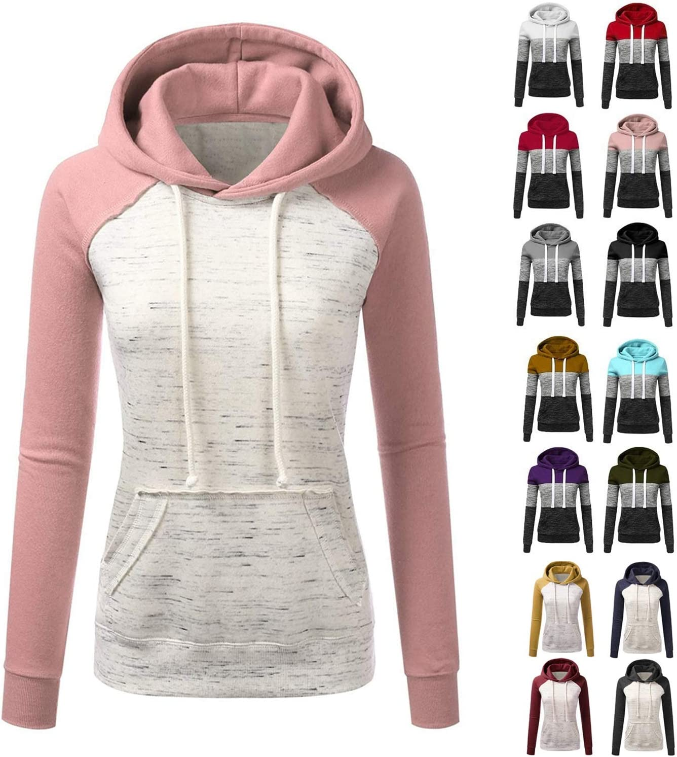 Uamaze 2020 Womens Colour Block Hoodies for Autumn Winter S to 3XL (15 Styles) WAS £24.97 NOW £9.99 w/code VY734D4R @ Amazon