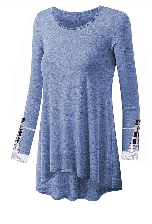 bf68b7a7 Women Tunic Tops Loose Long Sleeve Shirt Tartan Lace Button Basic Layered  Blouse at Amazon Women's Clothing store: