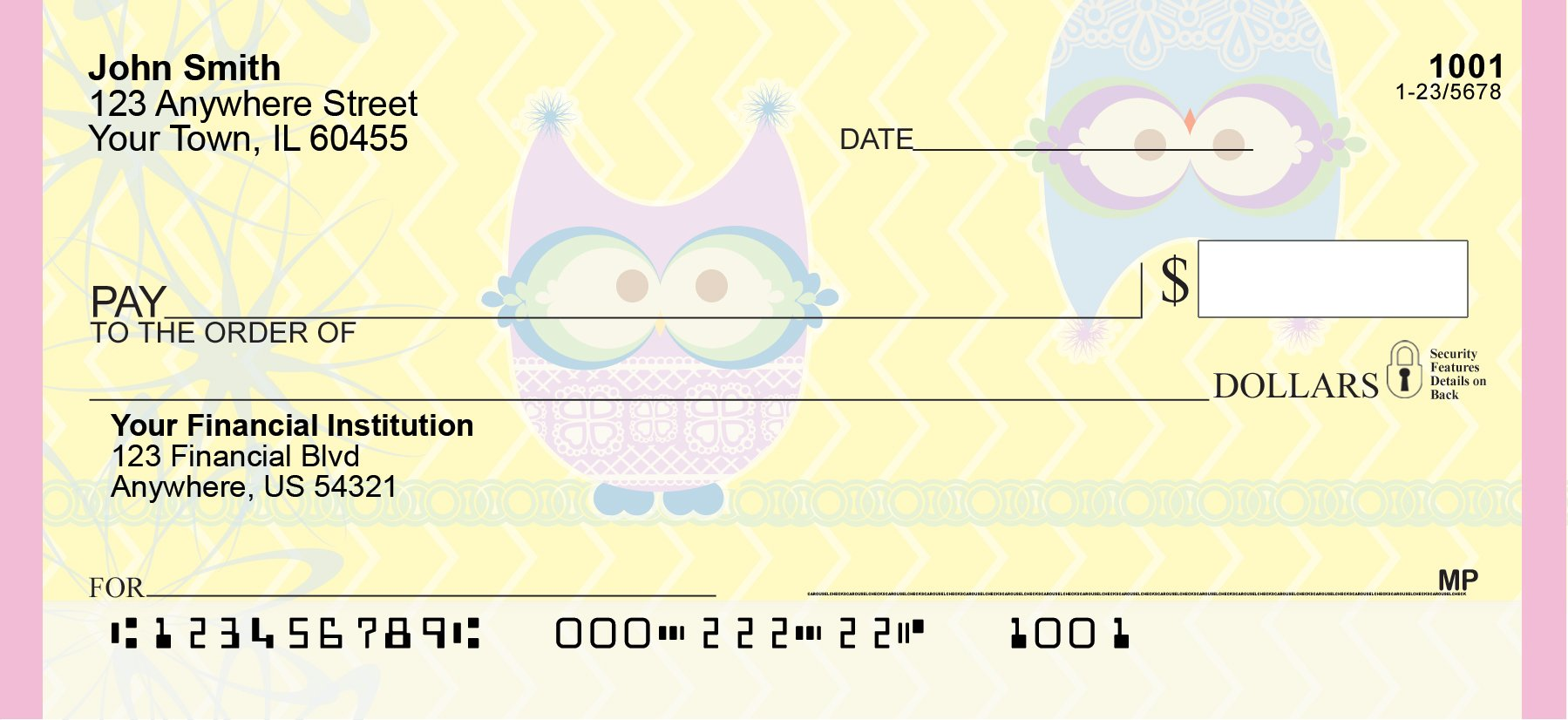 Give a Hoot Personal Checks (1 Box Singles) by Carousel Checks Inc. (Image #4)