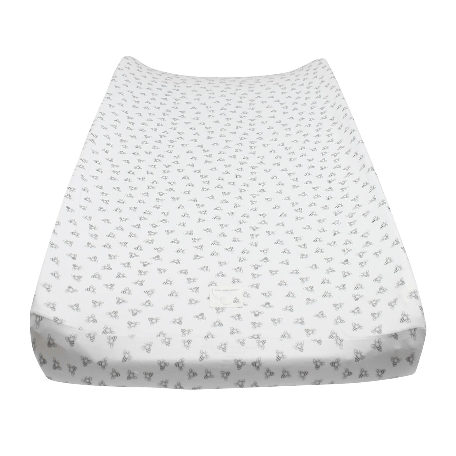 """Burt's Bees Baby - Honeybee Print Changing Pad Cover, 100% Organic Changing Pad for Standard 16"""" x 32"""" Changing Pad (Heather Grey)"""