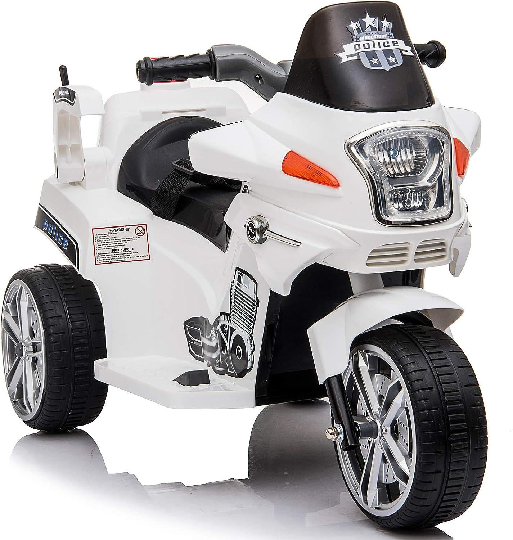 HOMCOM Moto Eléctrica Infantil Coche Triciclo Moto Juguete para Niños 3+ Años con Luces y Música 87x41x54cm Carga 35kg Blanco