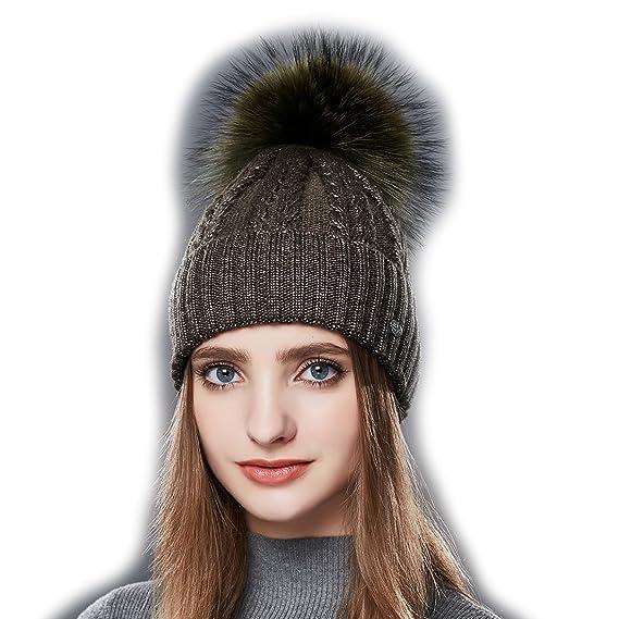 2be96574cca URSFUR Femme Chapeau Bonnet Beanie Jersey Tricot Bonnet Béret Laine Pompon  Fourrure Hiver armée vert