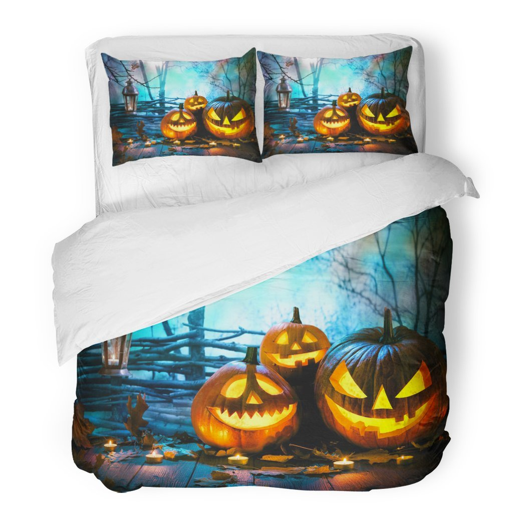 SanChic Duvet Cover Set Blue Fun Halloween Pumpkins on Wood in Front Nightly Spooky Forest Orange Night Decorative Bedding Set 2 Pillow Shams King Size