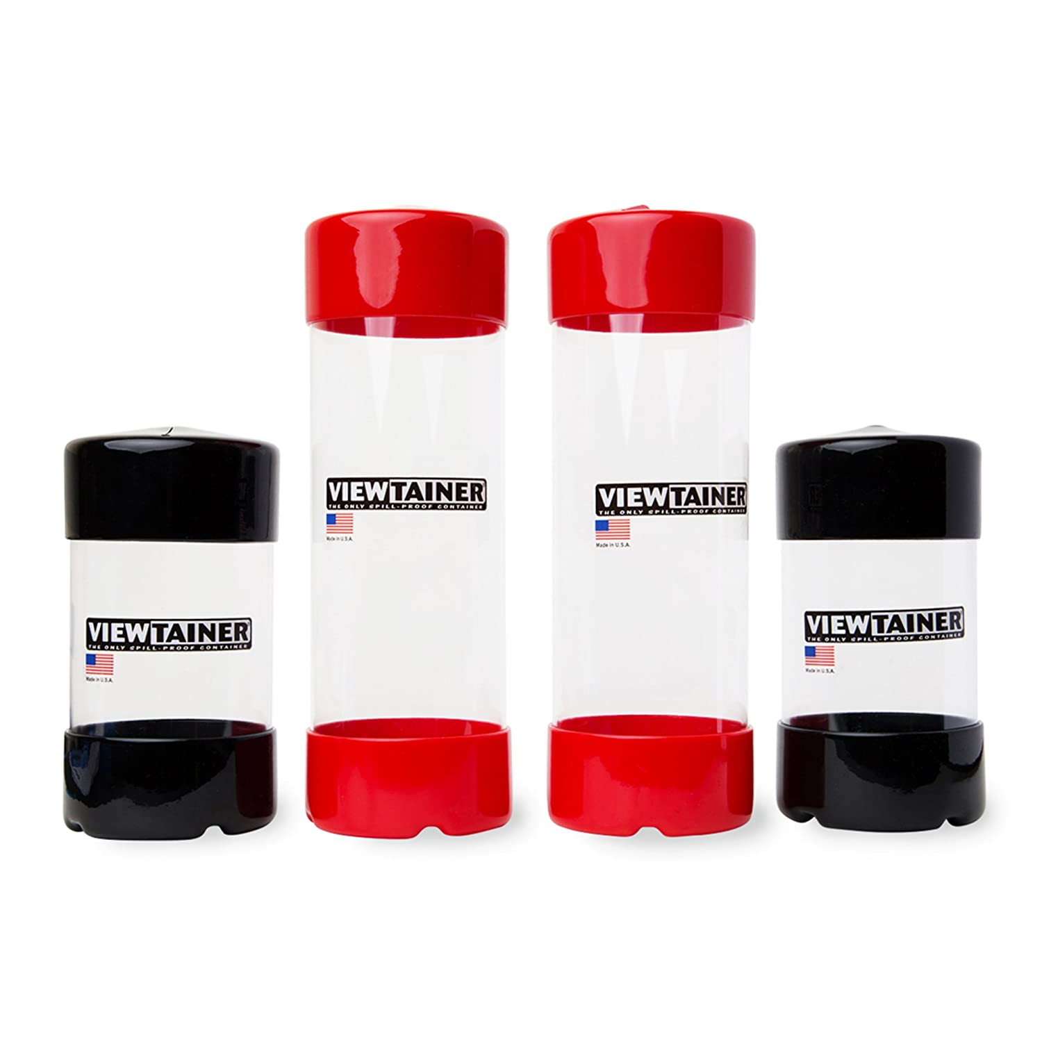 """Viewtainer Slit-Top 4-Pack - 2.75"""" (Black/Red)"""