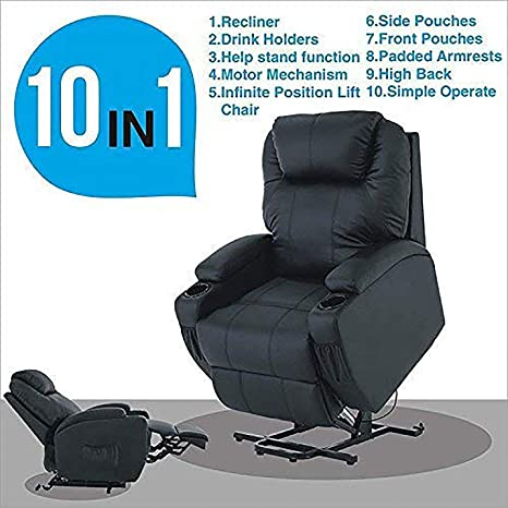 Mecor Power Lift Recliner,Lift Chair for Elderly, Living Room Sofa Chair with Remote Control, Reinforced Heavy Duty Reclining Mechanism (Black)