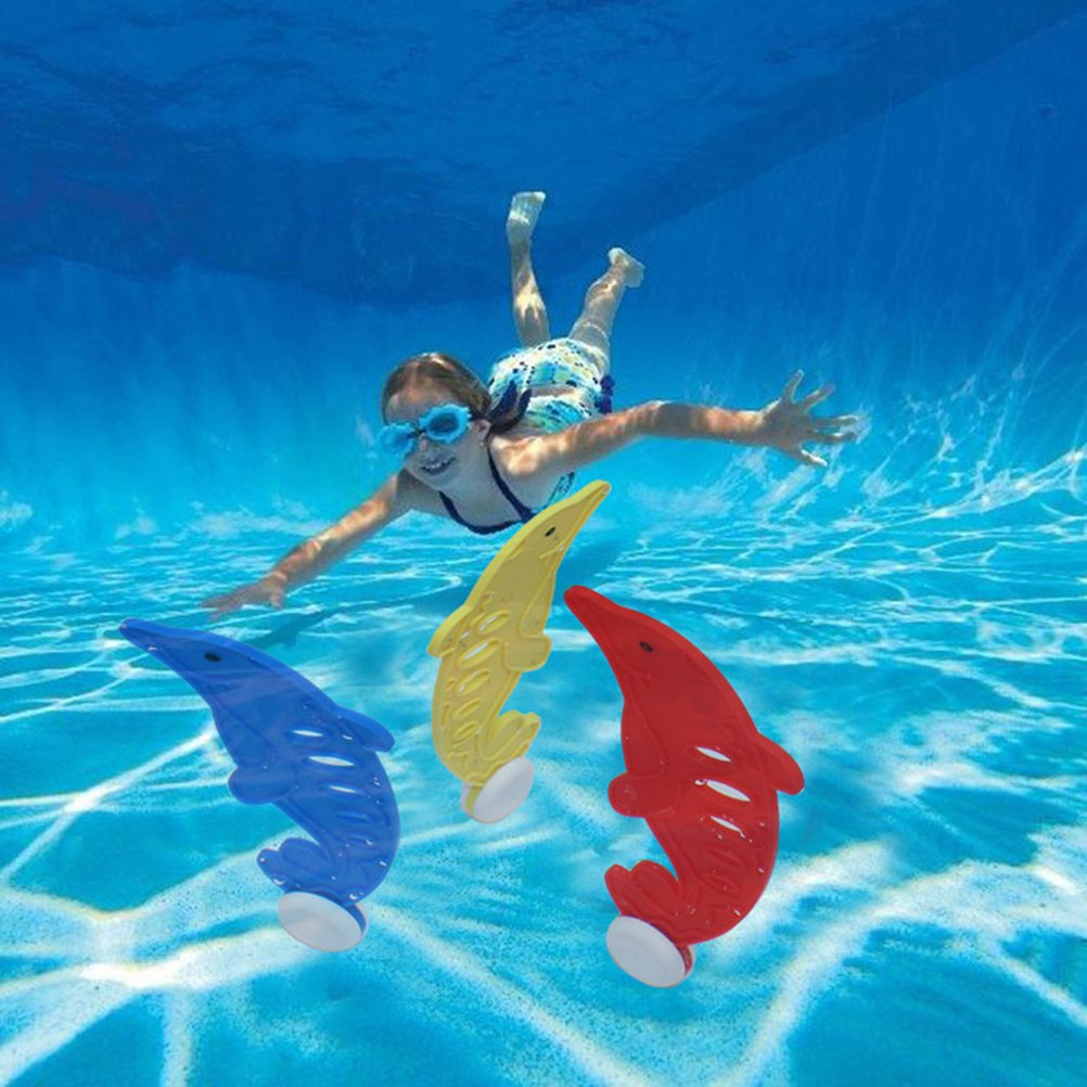 STOBOK 3pcs Kids Dive Toys Children Swimming Pool Dolphin Dive Sticks Red Yellow Blue