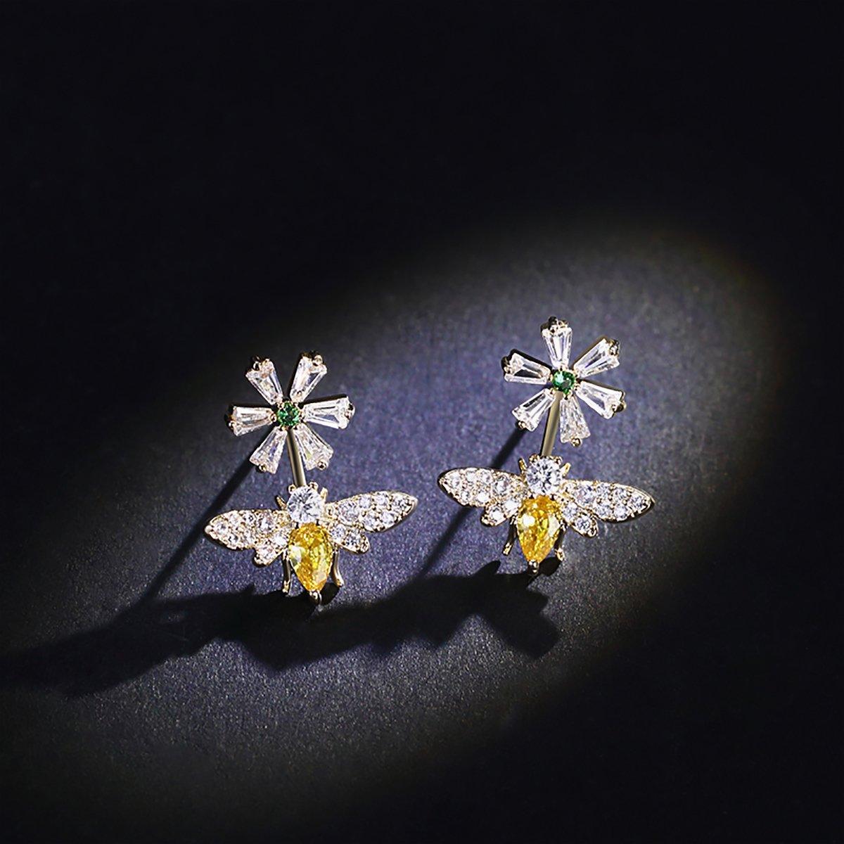 KesaPlan S925 Sterling Silver Bee Stud Earrings Cubic Zirconia Earrings