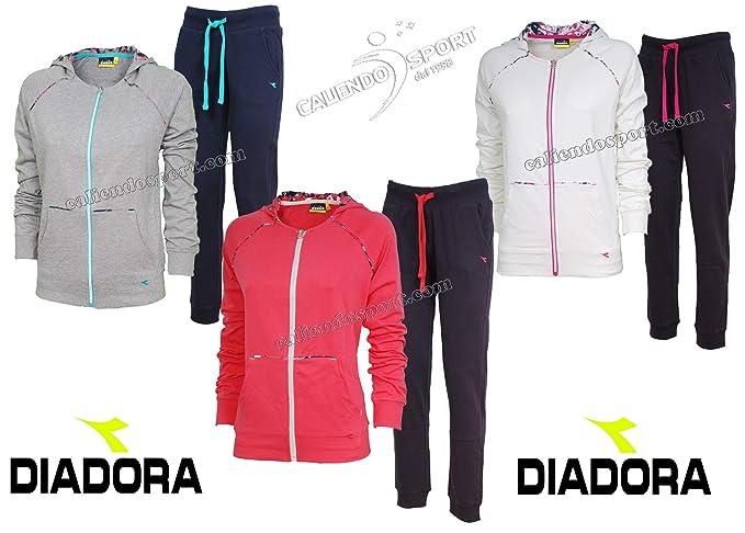Diadora Tuta Donna 171642 Cotone Grigio Bianco Rosa Casual Palestra  Amazon. it  Abbigliamento e7b474f4861