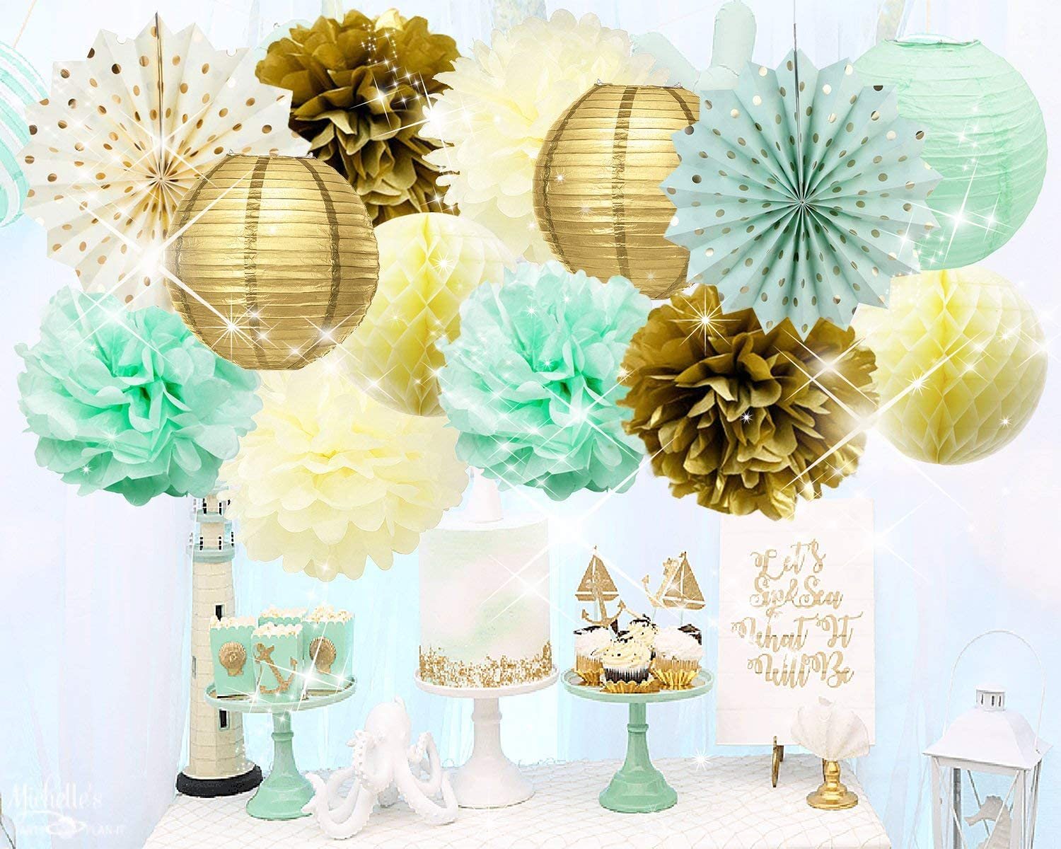 Qian's Party Mint Gold Birthday Decorations Mint Cream Gold Polka Dot Paper Fan for Gender Neutral Baby Shower Decor/Trial Baby Shower Decorations Mint Gold First Birthday Bridal Shower Decorations