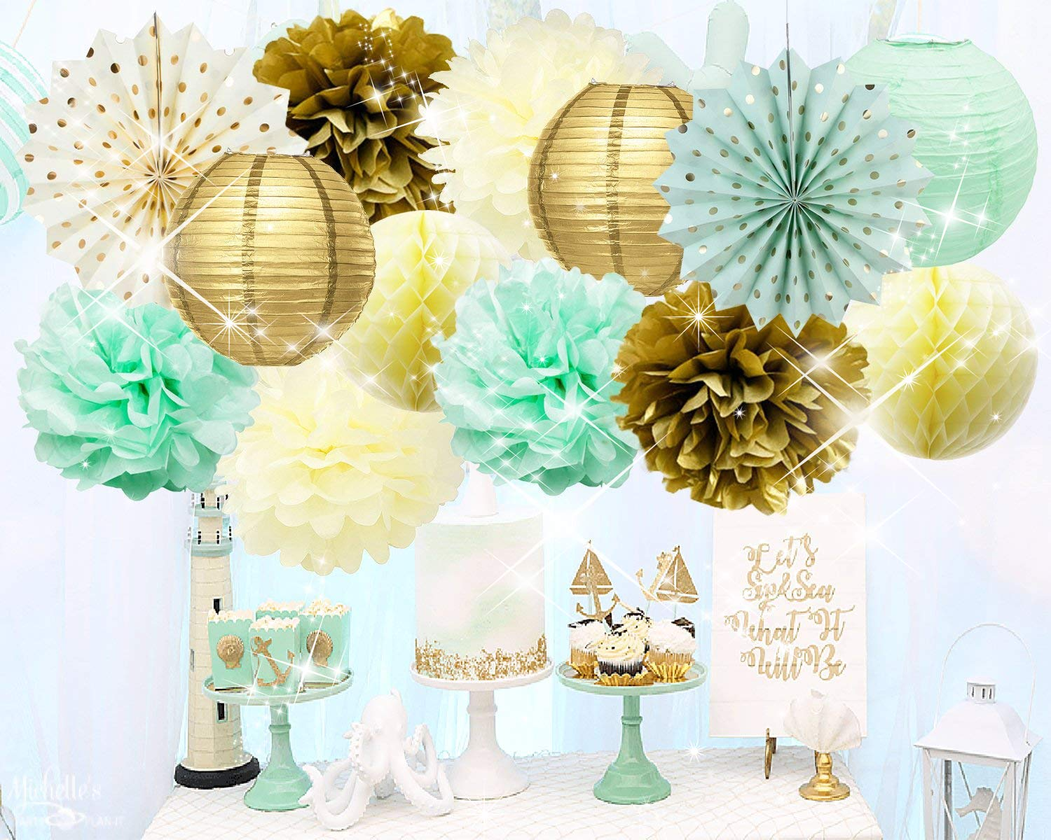 Qian's Party Mint Gold Birthday Decorations Mint Cream Gold Polka Dot Paper Fan for Gender Neutral Baby Shower Decor/Trial Baby Shower Decorations Mint Gold First Birthday Bridal Shower Decorations by Qian's Party