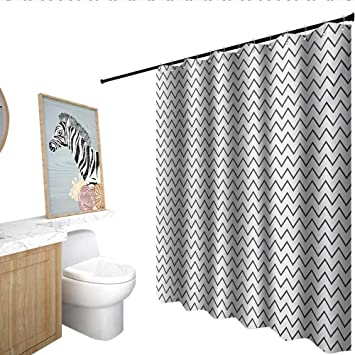 Modern Polyester Shower Curtain Zig Zag Chevron Lines Angled Stripes Wave Sealife Theme Like Repeating Pattern