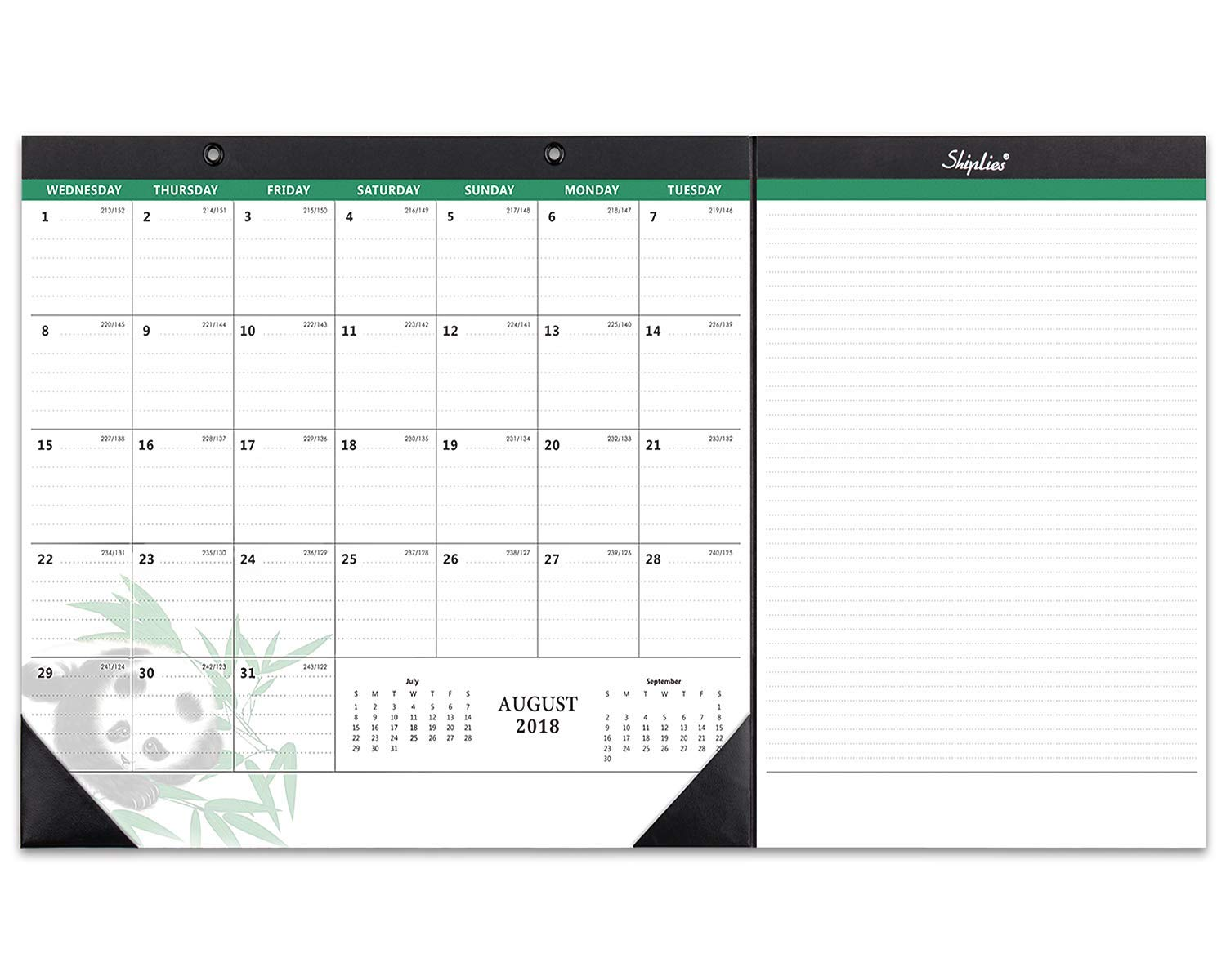 "Shiplies August 2018 - June 2019 Academic Year Monthly Desk Pad Calendar, 22.5""x 11.8"" (2 Pack Legal Writing Pads Included)"