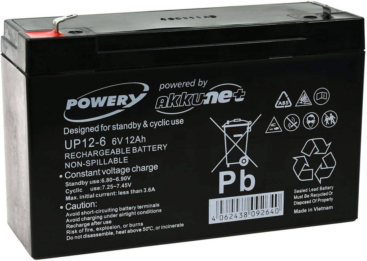 Powery Bateria de GEL para Vehículos para niños Coche Infantil Quad 6V 12Ah (Reemplaza también 10Ah)
