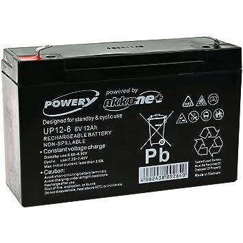 Powery Bateria de GEL para Equipos de limpieza Alarmas 6V ...