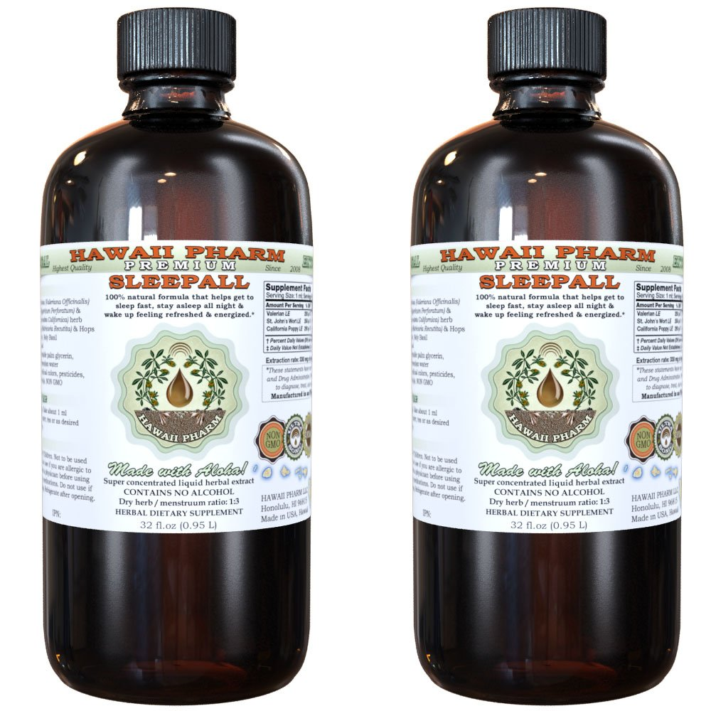 SLEEPALL - NON-ALCOHOL HawaiiPharm's Fast Acting Liquid Sleep Aid Natural Premium Herbal Extract Sleep Support much more powerful than a capsules or tablets 2x32 oz